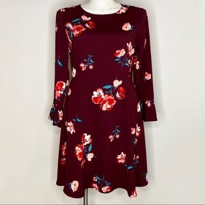Old Navy maroon floral dress with fluted sleeves